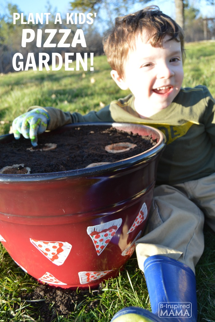 Planting a Pizza Garden in a DIY Pizza Garden Planter - A Great Outdoor Kids Activity for Spring and Summer - at B-Inspired Mama