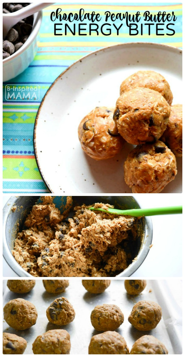 Easy to Make Chocolate Peanut Butter No-Bake Energy Bites Recipe - Perfect for an After School Snack for the Kids or a Summer Picnic - at B-Inspired Mama