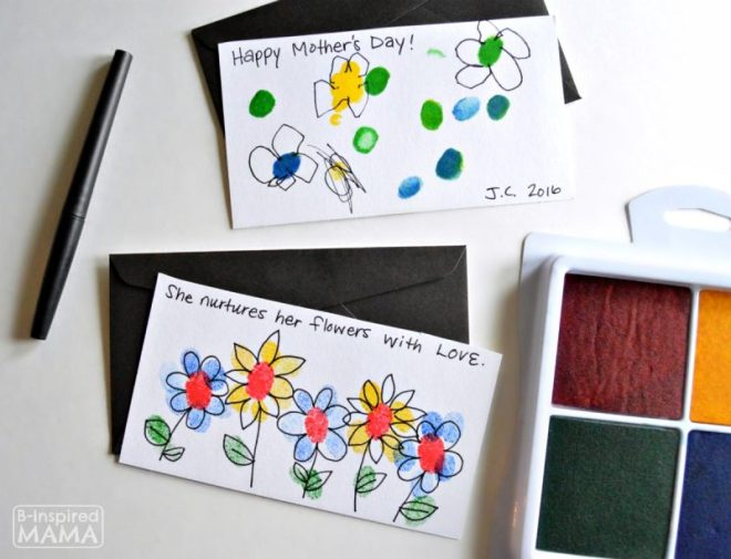 Fingerprint Flowers - Super Sweet and EASY Handmade Mother's Day Cards for Kids - at B-Inspired Mama