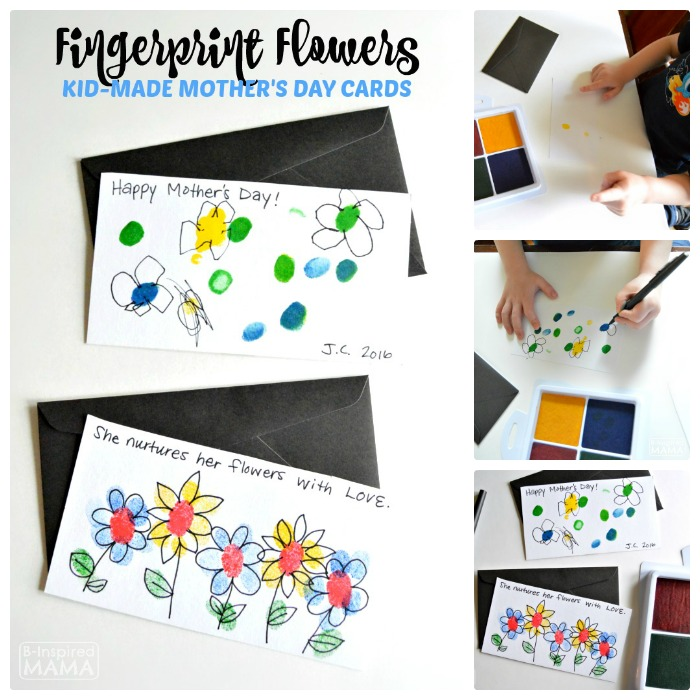 Fingerprint Flowers - Sweet Handmade Mother's Day Cards for Kids - at B-Inspired Mama - square