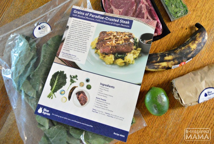 How Busy Moms can Cook Fancy Meals - A Blue Apron Review - One Recipe with its Ingredients - at B-Inspired Mama