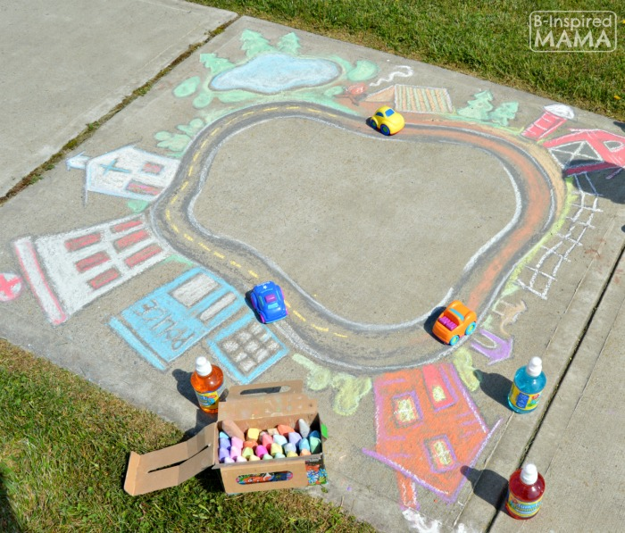 Seriously Fun Sidewalk Chalk Art for Kids to PLAY In - Playing Cars in a Giant Sidewalk Chalk Town - at B-Inspired Mama