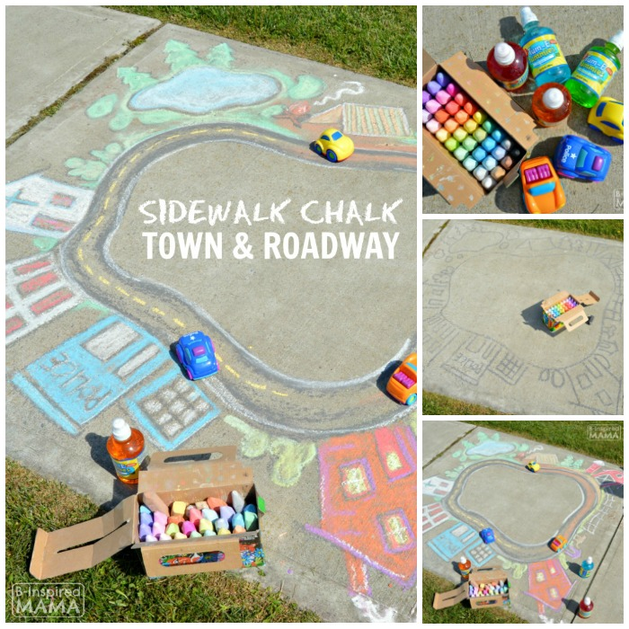 Seriously Fun Summer Sidewalk Chalk Art for Kids to PLAY In - A GIANT Sidewalk Chalk Town and Roadway - at B-Inspired Mama