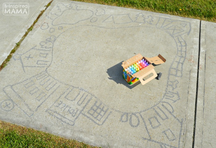 Sidewalk Chalk Art for Kids to PLAY In - A Sidewalk Chalk Town - Drawing the Town Outline - at B-Inspired Mama