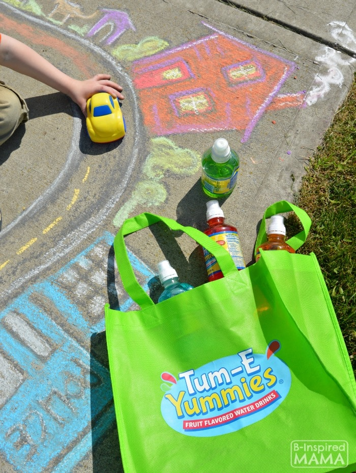 Sidewalk Chalk Art for Kids to PLAY In - Sidewalk Chalk Town + a Snack Bag with Tum-E Yummies Flavored Water Drinks - at B-Inspired Mama