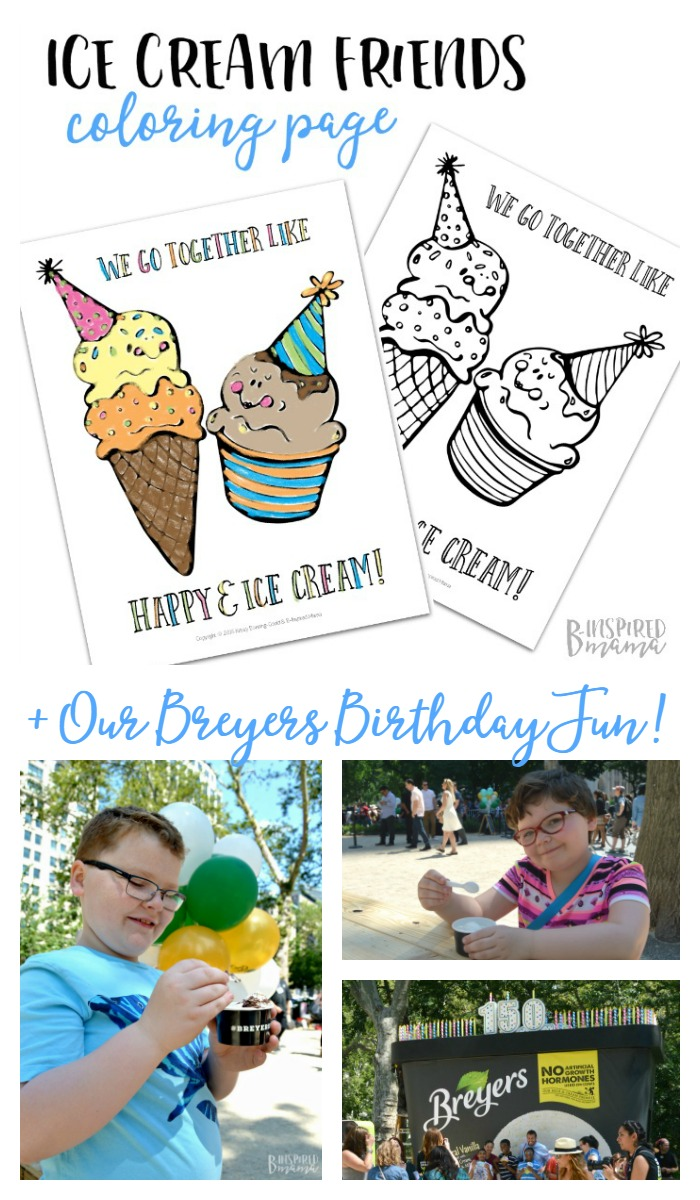 A Happy Ice Cream Coloring Page + Our Breyers Birthday NYC Trip - at B-Inspired Mama