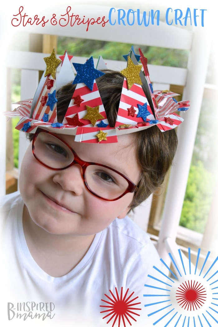 Easy 4th of july craft for kids a stars and stripes crown for Art and craft crown