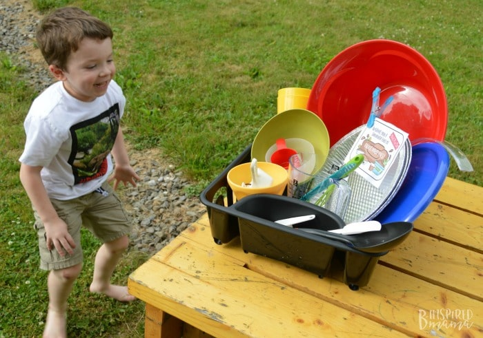DIY Mud Pie Making Kit + A Free Printable Gift Tag - JC couldn't wait to get messy - at B-Inspired Mama