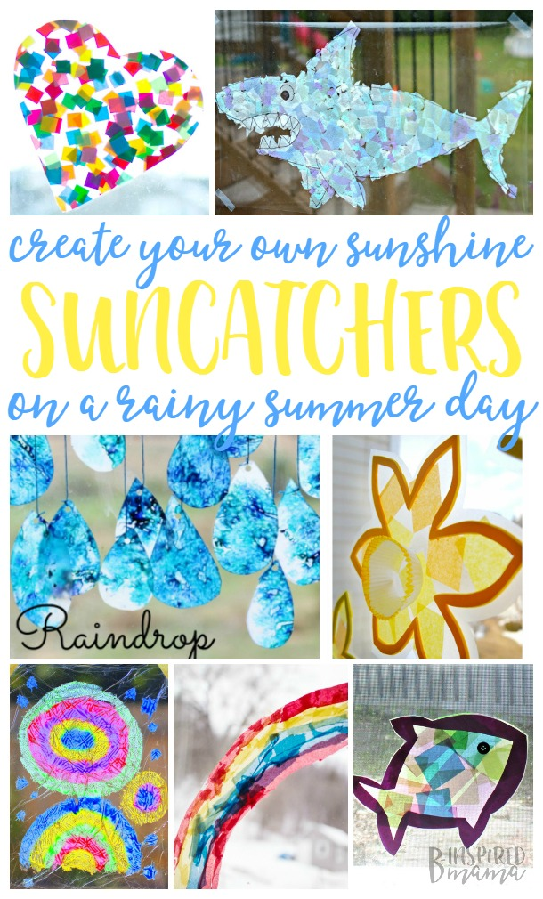21 Suncatcher Craft Ideas for Kids - Create your own sunshine on a summer rainy day indoors - at B-Inspired Mama