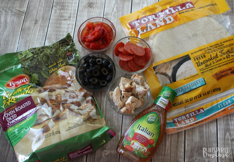 An Easy Italian Antipasto Grilled Chicken Wrap Recipe - perfect for a summer family lunch or dinner - with easy ingredients - at B-Inspired Mama