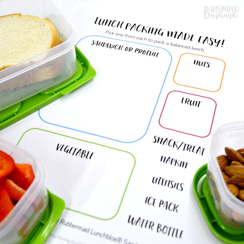 FREE Printables to make sure your Kid-Packed Lunch get done on time and is a balanced meal, too - at B-Inspired Mama