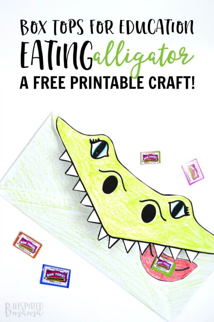 Super Cool Box Tops Eating Alligator Printable Craft