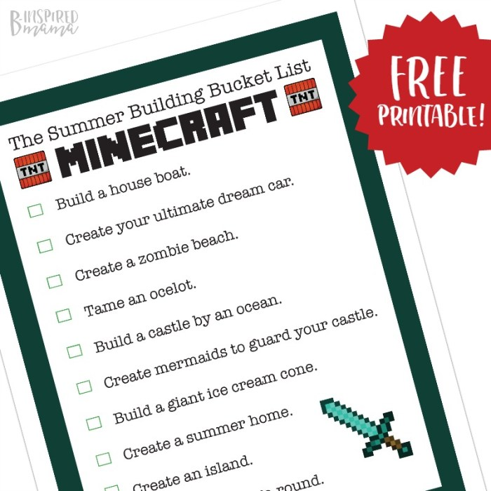 Minecraft Summer Bucket List for Kids - a Free Printable of Summer-Themed Minecraft Building Ideas - at B-Inspired Mama