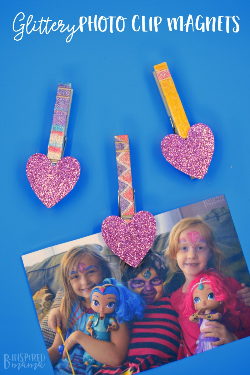 Glittery DIY Magnet Photo Clips - for hanging the kids sparkling selfies - at B-Inspired Mama
