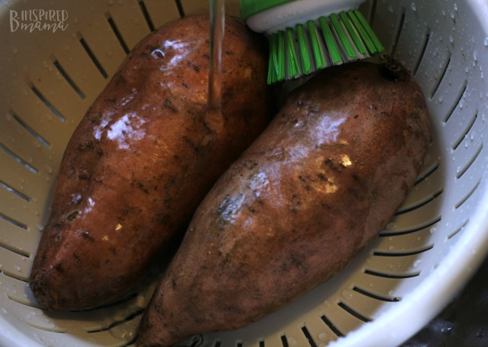 Prepping the Sweet Potatoes - Delicious Maple Bacon Sweet Potato Recipe - Perfect for an Autumn Dinner - at B-Inspired Mama
