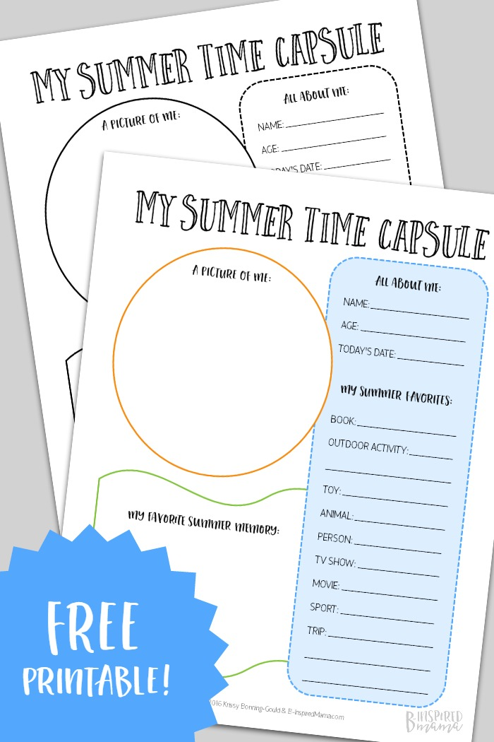 Summer Time Capsule Printable for Capturing Kids Summer Memories - at B-Inspired Mama