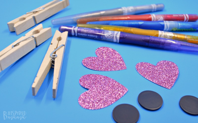 Supplies for some easy peasy Glittery DIY Magnet Photo Clips - perfect for hanging the kids sparkling selfies - at B-Inspired Mama