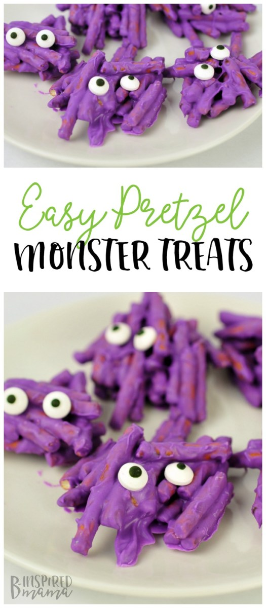 Easy Pretzel Monster Halloween Treats - perfect for a class party or even a kids' monster Birthday party