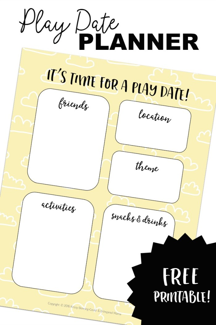 A FREE Kids' Play Date Planner Printable - at B-Inspired Mama