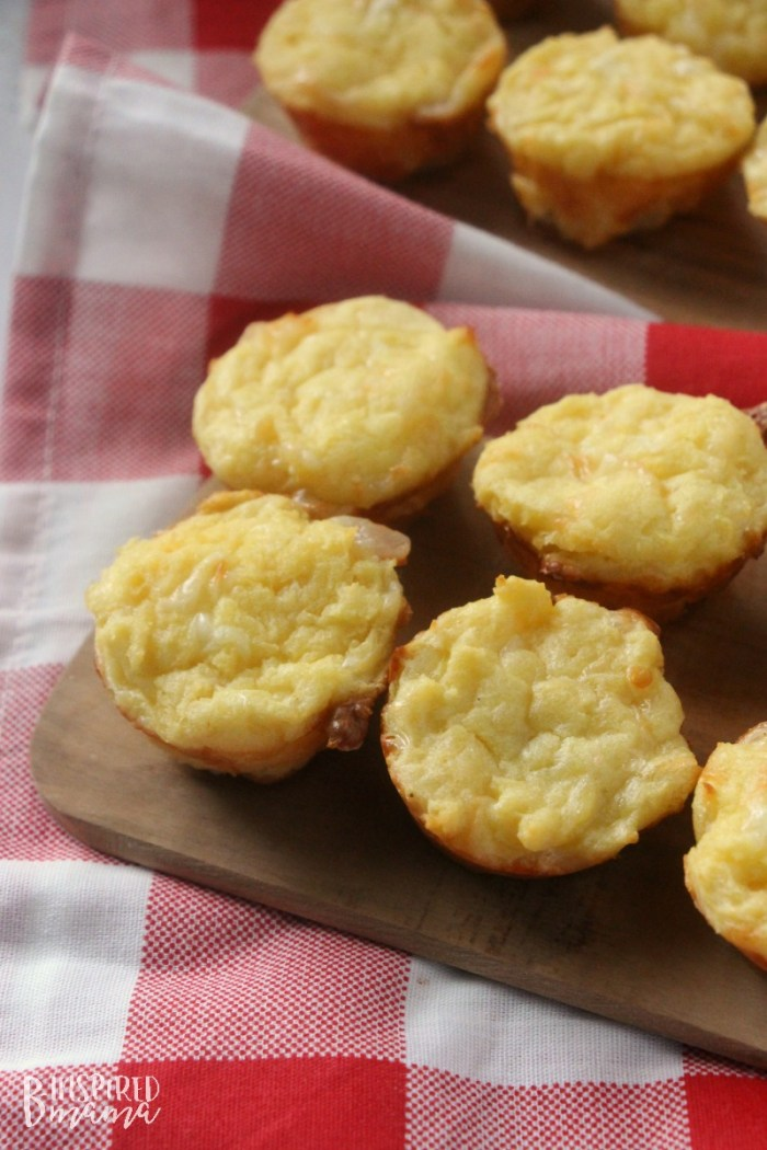 Super Easy Cheesy Potato Bites - a kid-friendly cheesy potatoes recipe - at B-Inspired Mama