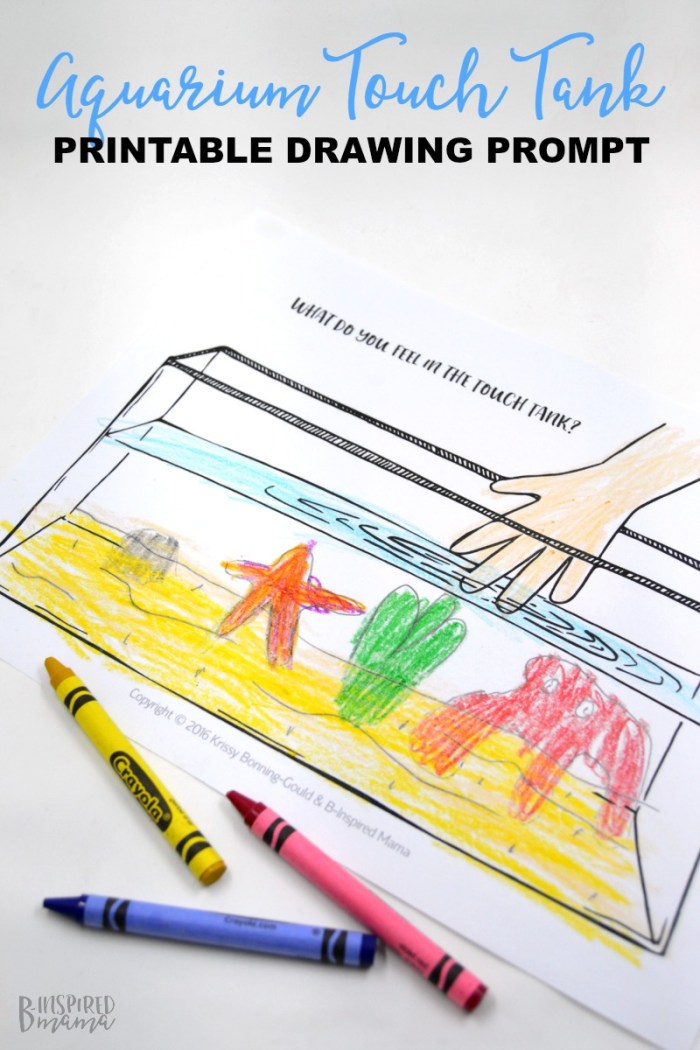 Touch Tank Drawing Prompt for Kids + Our Family Trip to Adventure Aquarium - at B-Inspired Mama