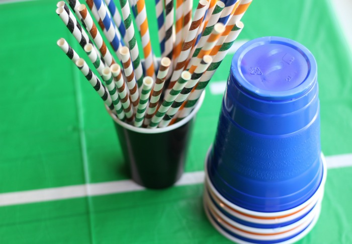 Pick straws in team colors for a festive Football Party