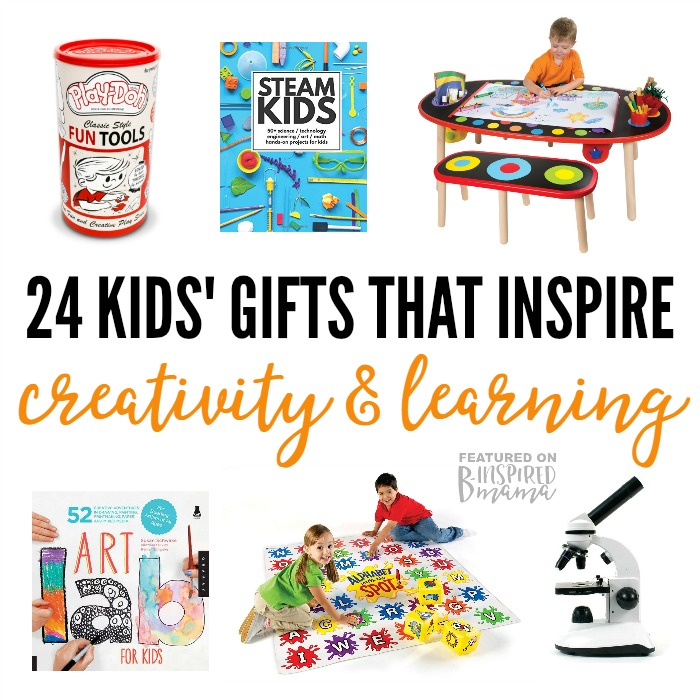 24 Kids' Gifts that Inspire Learning and Creativity - from books to STEM toys to craft kits and more - a 2016 Holiday Gift Guide from B-Inspired Mama