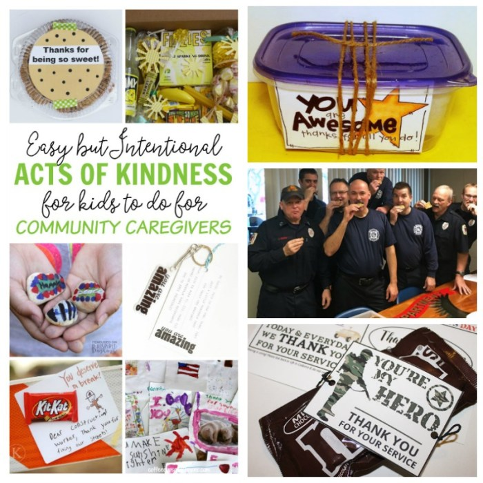 9 Easy but Intentional Acts of Kindness Kids can do for Community Caregivers - perfect for police, fire fighters, nurses, teachers, and childcare workers