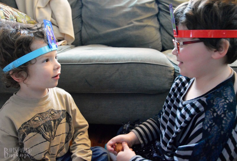 A Fun Family Game Night - Made Easy - Priscilla and JC playing Hedbanz Electronic grame- at B-Inspired Mama