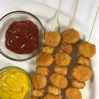 Seriously easy Nugget and Tot Kabobs for Kids - perfect for a Super Bowl Party or a simple family dinner - at B-Inspired Mama
