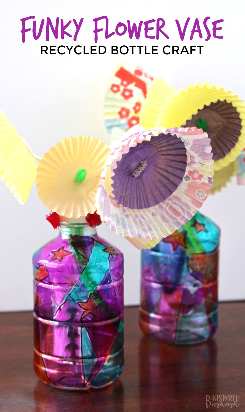 Funky Flower Vase Upcycled Plastic Bottle Craft for Kids - Perfect for an upcycled Earth Day craft or a kids homemade Mother's Day gift! #kids #kidscraft #craft #crafty #crafting #child #children #diy #diyproject #recycling #recycled #upcycle #upcycling #giftidea #mothersday #mothersdaygift #diygifts #homemade #handmade #kbn #binspiredmama