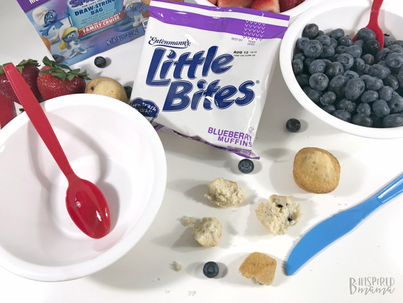 Cutting the Little Bites Muffins for our Super Fun Smurf Blueberry Muffin Parfait Recipe