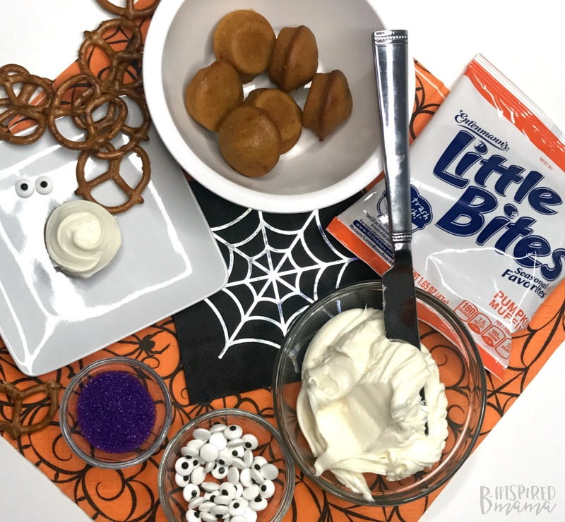 Frosting on Little Bites Pumpkin Muffins - Spider Bites for a fun Halloween Snack for Kids