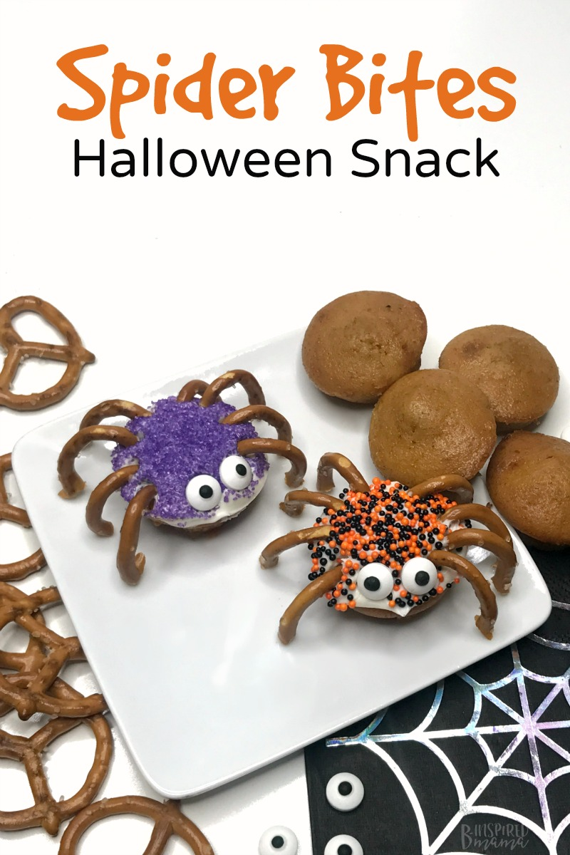 Spider Bites for a fun Halloween Snack for the kids - at B-Inspired Mama