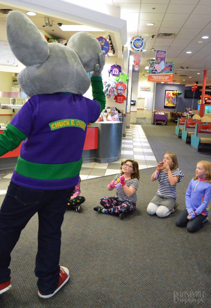 Hanging out with Chuck E. at Priscilla's Birthday Party + Meaningful Birthday Traditions for Kids - at B-Inspired Mama