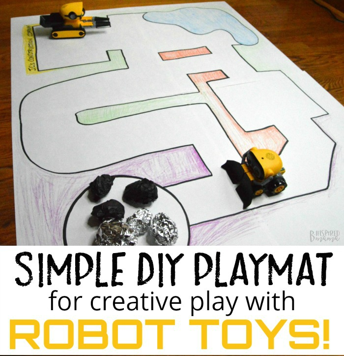 How to Make a Fun but Simple DIY Playmat for Kids Robot Toys - at B-Inspired Mama