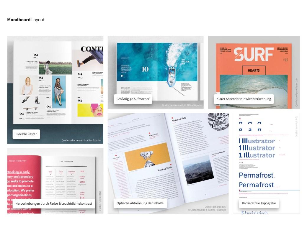 Moodboard oder Stimmungsbild für das neue Reisemagazin. Die einzelnen Elemente des Moodboards werden auf der Seite beschrieben.