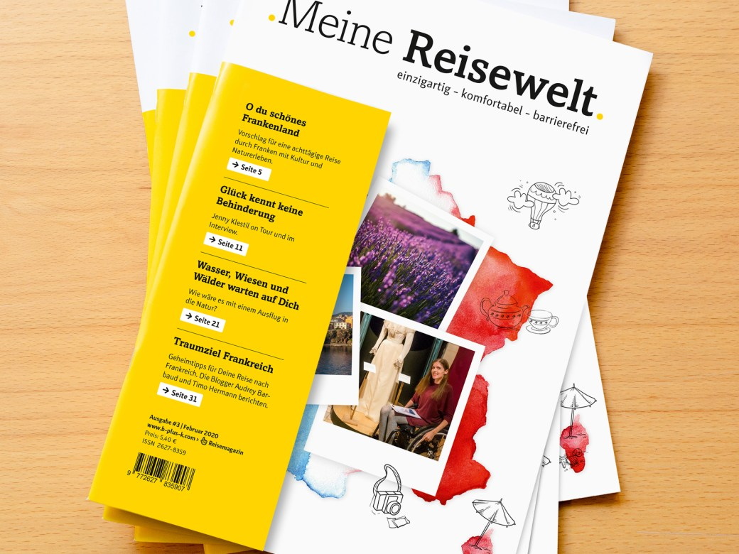 Magazin Cover mit Frankreichkarte, Lavendelfeld und Rollifahrerin. Am zusätzlichen Umschlag ist das Magazin auch für blinde Menschen gut erkennbar.