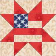 Star with Flag Center Quilt Block