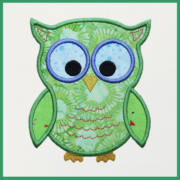 Cute Owl Machine Embroidery Applique Blue Feather Quilt