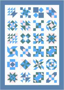 Sampler Quilt with Background Fabric Sashing