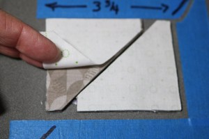 Triangles that have been cut with layered fabric
