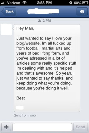 Facebook message testimonial