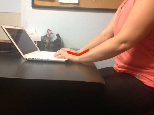 Typing wrists extended with lines