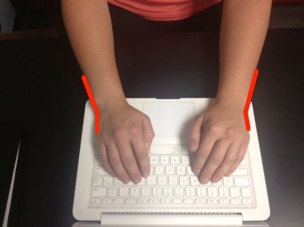 Typing wrists straight with lines