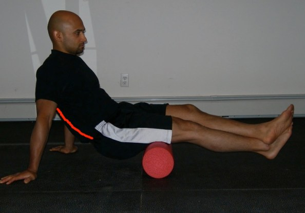 Foam Roll Hamstrings with lines