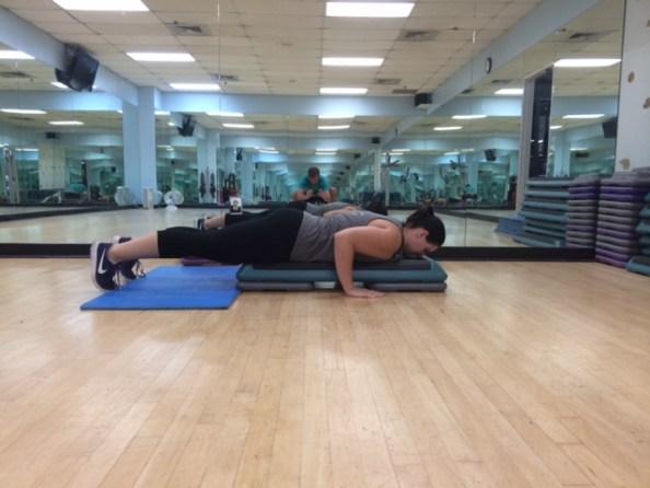 Aerobic step push ups 2