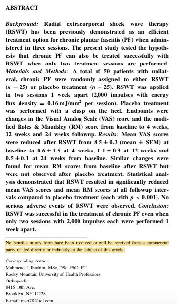 FUNDING Chronic Plantar Fasciitis Treated..