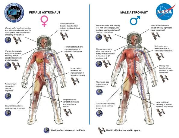 women vs men space travel