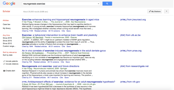 neurogensis scholar search 1